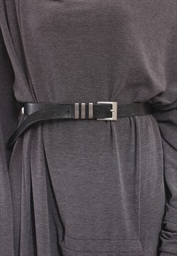 Antique Nickel Buckle Leather Belt