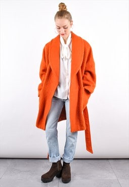 90s Vintage Orange Mohair Wool Winter Cocoon Coat