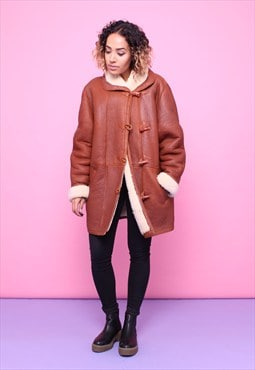 Vintage 80s Leather Sheepskin Coat 2315573