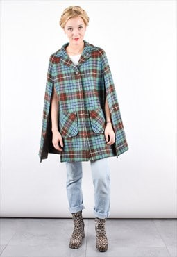 60s Vintage Tartan Wool Winter Cape Coat