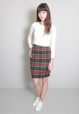 Vintage 1990's Grey and Red Tartan Pencil Skirt