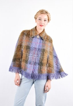 60s Vintage Tartan Mohair Wool Winter Cape Coat