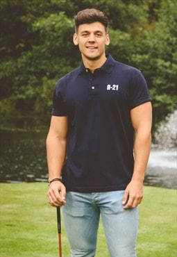 Navy 'Pique' Polo Shirt with R21 Embroidery Detail