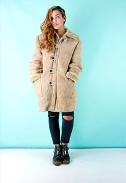 Vintage 70s Light Tan Sheepskin Shearling Coat - SC2209151