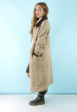 Vintage 70's Taupe Sheepskin Coat & Faux Fur - SC0410151