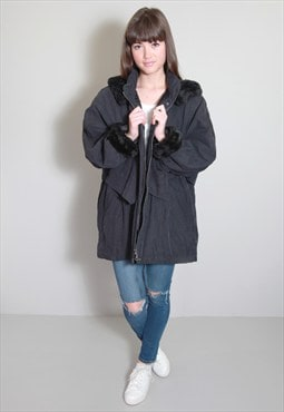 Vintage 1970's Navy Blue Oversized Parka Coat