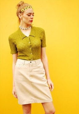 90's retro beige denim highwaisted A-line mini skirt