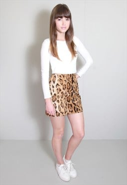 Vintage 1970's Faux Fur Leopard Print Mini Skirt