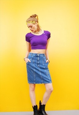 90's retro denim highwaisted midi Mom's skirt