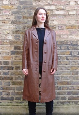Vintage 1960 Long Brown Leather Coat