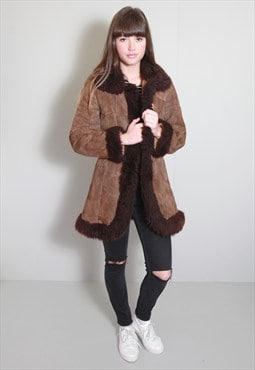 Vintage 1970's Brown Shearling Patchwork Coat