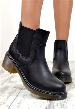 DARCY Chunky Low Heel Biker Style Chelsea Ankle Boots Black