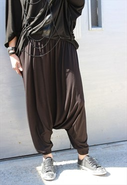 Black Loose Pants, Baggy Pants, Drop Crotch Trousers, P0007