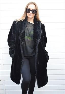 Stunning luxury black chunky faux fur coat
