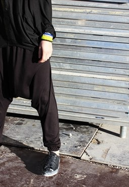 Black Casual Pants, Baggy Pants, Drop Crotch Trousers P0006