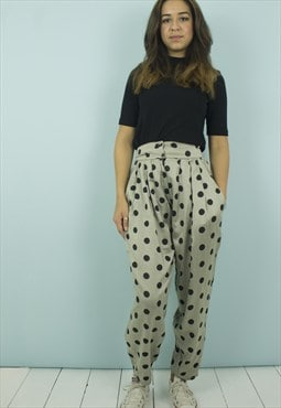 Vintage High Waist Polka Dot Trousers