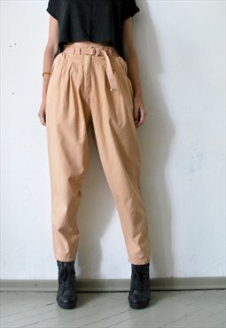 80s 90s peg leg peach cotton high waist trousers