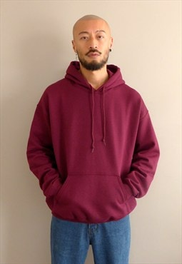 New Oversized 90s Fit Overhead Hoodie in Burgundy