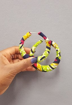 Retro chunky Ankara African Print hoop Earrings