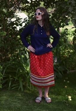 Vintage 60's Red Linen Midi Skirt