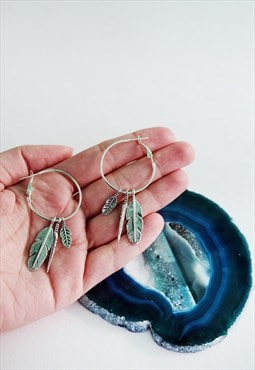 Triple Feather Hoops