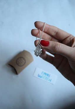 silver plated Hamsa hand necklace with gift box