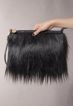 Madison Fur Clutch In Black