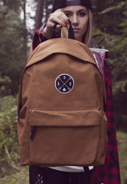 'Arrow Emblem' Tan Backpack