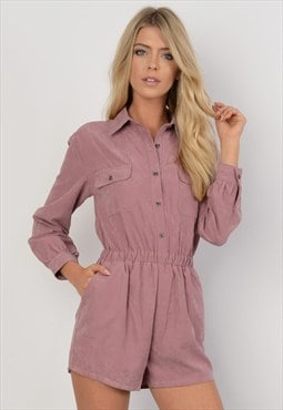 Mauve Suede Button Front Playsuit
