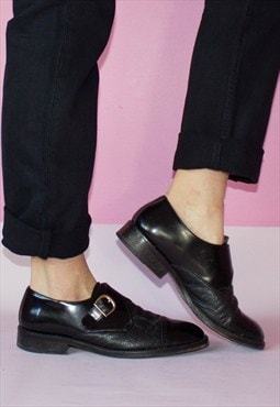 Vintage 90's Black Lorne Monk Leather Buckle Strap Shoes