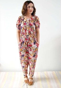 Vintage 80s Floral Jumpsuit with ruffled collar-JSL-002
