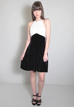 Vintage 1980's Black Velvet Embellished Halter Neck Dress
