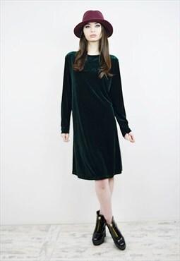 Vintage 90's Green Velvet Midi Dress r2D068