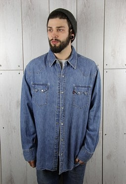 Vintage 1980s Dark Blue Oversized LEVI'S Denim Shirt (XL)