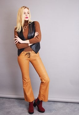 90's goes 70's faux leather Boho short flare trousers
