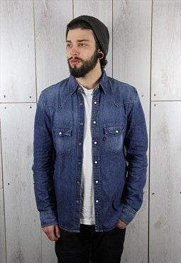 Vintage 1990s Dark Blue Slim Fit LEVI'S Denim Shirt (M)