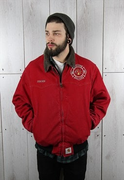 Vintage 1980s Red Fire Worker CARHARTT Canvas Jacket (L)