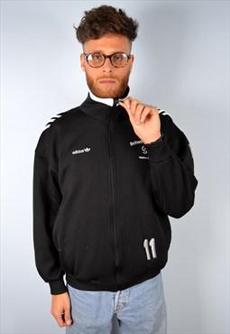 Adidas Mens Vintage Tracksuit Top Jacket Medium Black 90's
