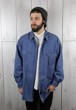 Vintage 1980s Classic Blue LEVI'S Denim Shirt (XL)