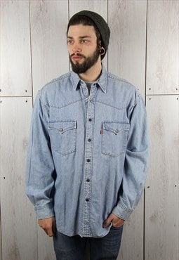 Vintage 1980s Light Blue Classic LEVI'S Denim Shirt (L)