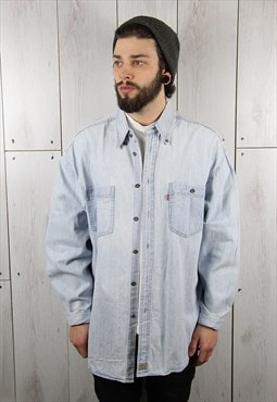 Vintage 1980s Light Blue Oversized LEVI'S Denim Shirt (XL)