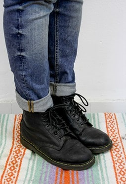 Vintage Dr Martens Black Leather Boots UK9 -MFW-030