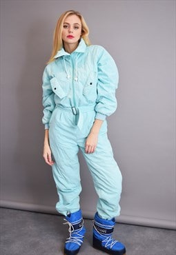 90's athleisure pastel blue winter skiing tracksuit jumpsuit
