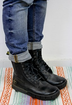 Vintage Dr Martens Black Leather Work Boots UK 9. - MFW-017