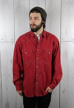 Vintage 1990s Popper Button LEVI'S Red Denim Shirt (L)