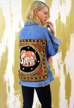 Delinquent Denim Embellished Sequin Elephant Vintage Jacket