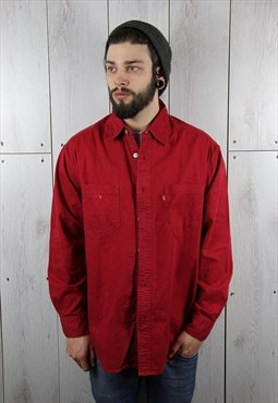 Vintage 1980s Classic Red LEVI'S Denim Shirt (L)