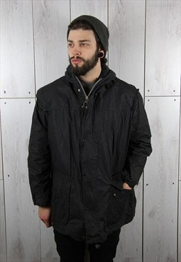 Vintage 1990s Black Check Lined BARBOUR Wax Jacket (XL)