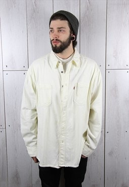 Vintage 1990s Plan White Classic LEVI'S Denim Shirt (XL)