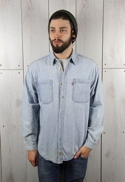 Vintage 1990s Light Blue Classic LEVI'S Denim Shirt (M)